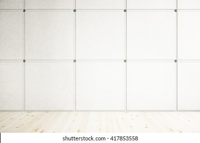 Room with wooden floor and blank patterned concrete wall. Mock up, 3D Rendering