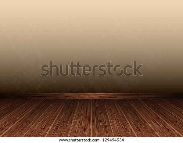 Room with wooden floors and old walls. Grungy interior. Raster version.