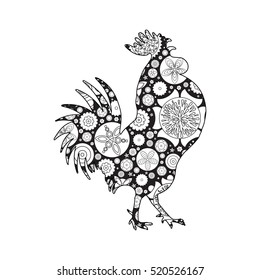 Rooster Or Cock Chicken Farm Bird For Adult Coloring Page Adults Anti Stress