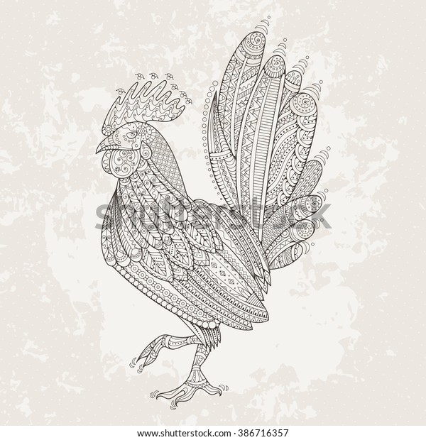 Rooster Domestic Farmer Bird Coloring Pages Stock ...