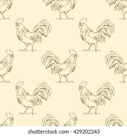 Rooster. Seamless pattern 2. Background with line illustration