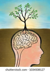 The roots of a tree creates a brain shape. Digital illustration, rough textures visibles at full size.