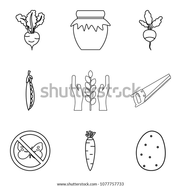 Rootstock icons set. Outline set of 9 rootstock icons for web isolated on white background