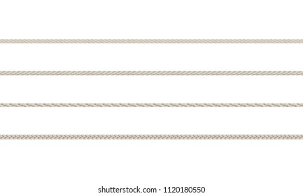 Rope braided set. Isolated on white background.3D rendering illustration.