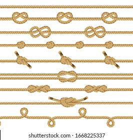 Rope knots collection. Seamless decorative elements. illustration