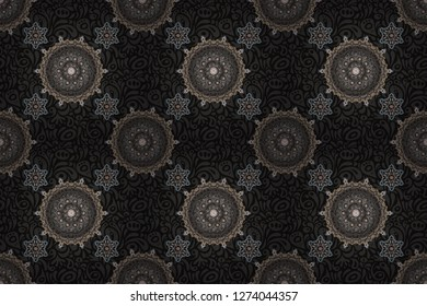 Rope seamless tied fishnet damask pattern in brown, beige and gray colors. Raster wallpaper.