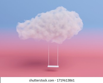 rope swing suspended by the cloud on pink room background. Minimal Creative idea concept. 3D render.