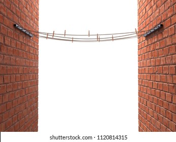 ropes with clothespins on stands between two breaks walls isolated 3d illustration