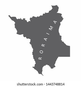 Roraima State map silhouette isolated on white background, Brazil