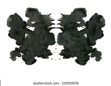 Rorschach inkblot test illustration, random abstract background. Psycho diagnostic inkblot test Rorschach, the projective Rorschach technique, or simply the inkblot test