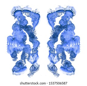 Rorschach test isolated on white illustration, random abstract blue background. Psycho diagnostic inkblot test.