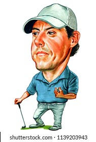 Rory McIlroy is a professional golfer from Northern Ireland who is a member of both the European and PGA Tours. Illustration,Caricature,Design,July,21,2018