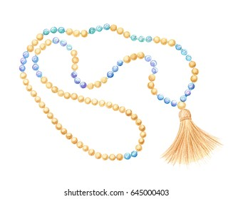 rosary beads, wooden and moonstone, watercolor illustration