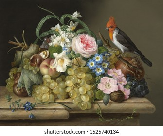 Rose and bird . Still life. In the style of the ancient Dutch masters.