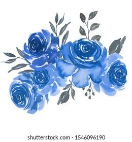 rose blue grey watercolor floral bouquet or arrangement for wedding invitation