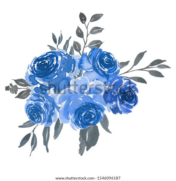 Rose Blue Grey Watercolor Floral Bouquet Stock Illustration 1546096187