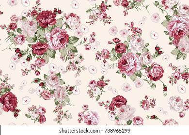 Rose bouquet flower pattern