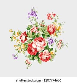 Rose bucket flower pattern arrangements