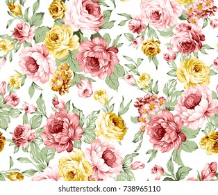 Rose colorful floral pattern