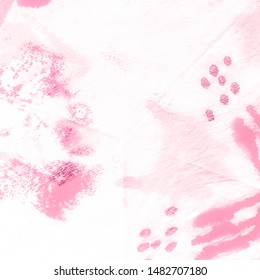 Rose Dirty Minimalism Element. Tie-Dye Pattern. White Dirty Gentle Background. Acrylic Brush Paint. Pink Tie And Dye. Pastel Splach.