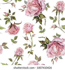 Rose flower on a twig. Seamless floral pattern.  Watercolor painting. Hand drawn illustration.