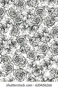 Rose Flower sketch bouquet hand drawing seamless pattern. Black and white