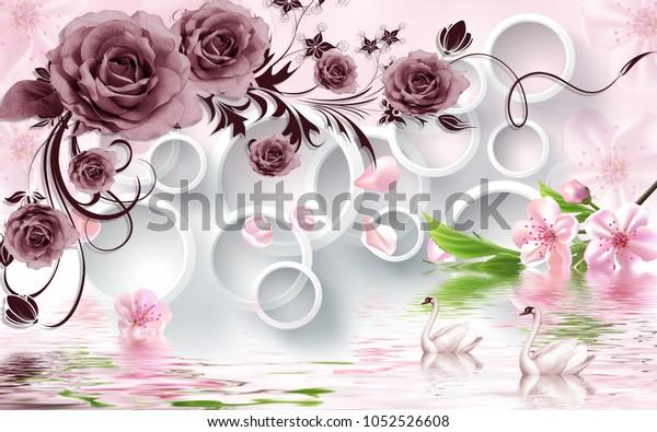 3d Rose flowers mural wallpaper for walls.