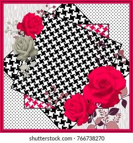 Rose flowers pattern.Silk scarf design, fashion textile