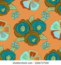Rose flowers seamless pattern in brown, orange and blue colors. Cute floral background.