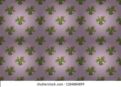 Rose flowers seamless pattern in green, brown and gray colors. Cute raster floral background.