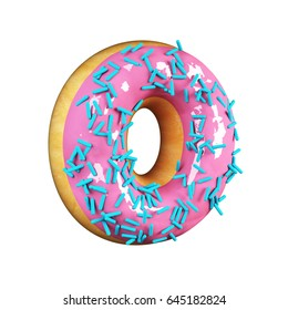 Rose Glazed Donut Font Concept with blue sprinkles. Delicious Letter O. 3d rendering isolated on white background