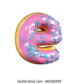 Rose Glazed Donut Font Concept with blue sprinkles. Delicious Letter E. 3d rendering isolated on white background