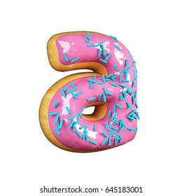 Rose Glazed Donut Font Concept with blue sprinkles. Delicious Letter A. 3d rendering isolated on white background