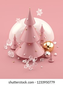 Rose Gold 3D illustration with decorated Christmas trees and snowflakes. Trendy composition for New Year's and Christmas banners, posters, greeting cards and invitations. 3d rendering.
