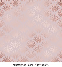 Rose gold. Art deco. Seamless pattern. Texture with fan tiles. Modern stylish design for cover, textile, fabric, interior, paper, packaging, wallpaper, invitation, print, background, template, decor