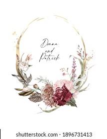 Rose gold and burgundy wedding floral frames. Blush and burgundy golden frames and arrangements forinvitations, greeting cards, social media, feminine logo