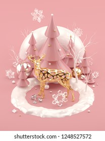 Rose Gold Christmas 3D illustration with golden deer, decorated Christmas trees and snowflakes. Millennial pink and gold colors. 3d rendering.