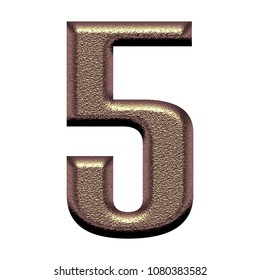 Rose gold color metal number five 5 in a 3D illustration with a rough textured metallic shiny surface and bold font isolated on white with clipping path
