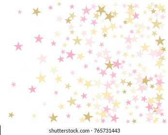 Rose gold flying stars confetti magic christmas image, premium sparkles stardust background pattern. Holiday party decor in rose color and gold, Christmas stars image print, flying confetti sparkles