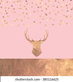 Rose Gold Foil Confetti Stag Greeting Card