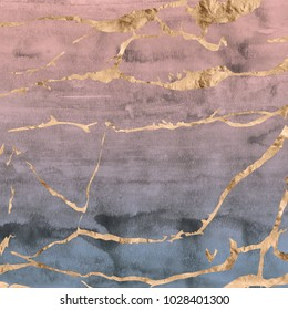 Rose gold foil marble design overlaid on hand painted ombre watercolor texture in pale pink and blue tones.