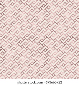 Rose gold foil texture. Art deco seamless pattern. Geometric sparkling background. Luxury pattern design
