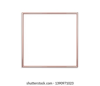 Rose gold frame mockup on a white background. 1x1 ratio Square