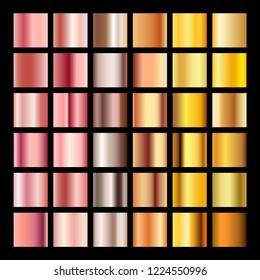 Rose gold gradient collection design texture. Golden bronze metal gradient template for web.