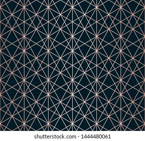 Rose gold linear pattern. Raster geometric seamless texture. Metallic copper lines on black background. Luxury ornament with delicate grid, lattice, net, mesh. Abstract repeated graphic background