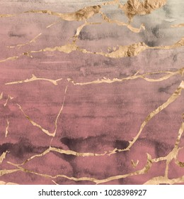 Rose gold metallic marble design overlaid on a hand painted watercolor texture in ombre quartz pink