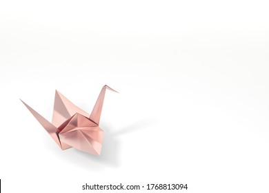 Rose gold Origami Bird, rosegold bird paper crane on white background 3d rendering. 3d illustration bird paper craft for Hiroshima remembrance day minimal style concept.