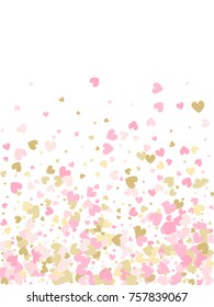 Rose gold Valentine's day scatter of doodle hearts banner or card template. Flying heart confetti image pattern. Holiday decoration with tenderness symbols confetti flying, love background image