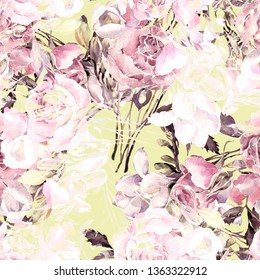 Rose and grass seamless pattern. Beautiful print from watercolor sketching hands on paper. Stylish print for textile design and decoration.