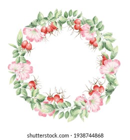 Rose hip frame for the tea naming, circle wreath rose hip gift card, floral, berries illustration. Tea label concept. Rounded flower and briar fruit border pattern isolated on white.